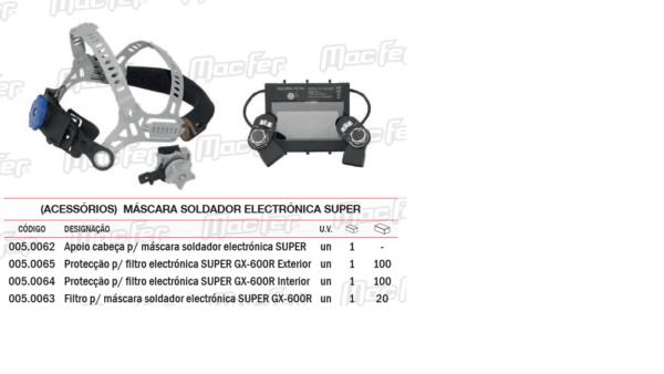 Acessórios Máscara Soldador protecção filtro electrónico GX600R Interior