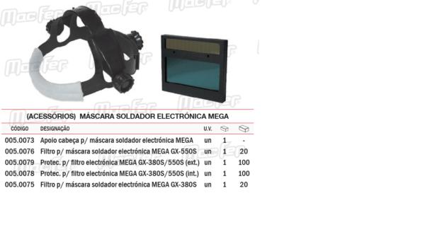 Acessórios Máscara Soldador Electrónica Filtro GX550S