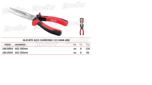 Alicate Aço Carbono Meia Cana A02