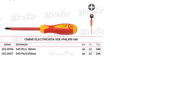 Chave Electricista VDE Philips 540 Ph1 x 80mm