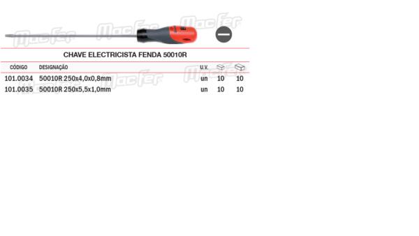 Chave Electricista Fenda 50010R 250 x 5,5 x 1,0