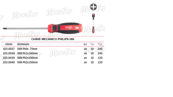 Chave Mecânico Philips PH2 x 150mm