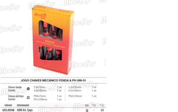 Jogo Chaves Mecânico Fenda & PH 569 01