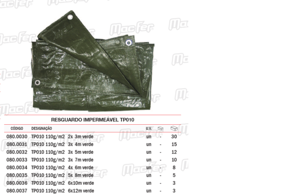 Resguardo Impermeável TP010 5 x 8 4,80 x 7,80