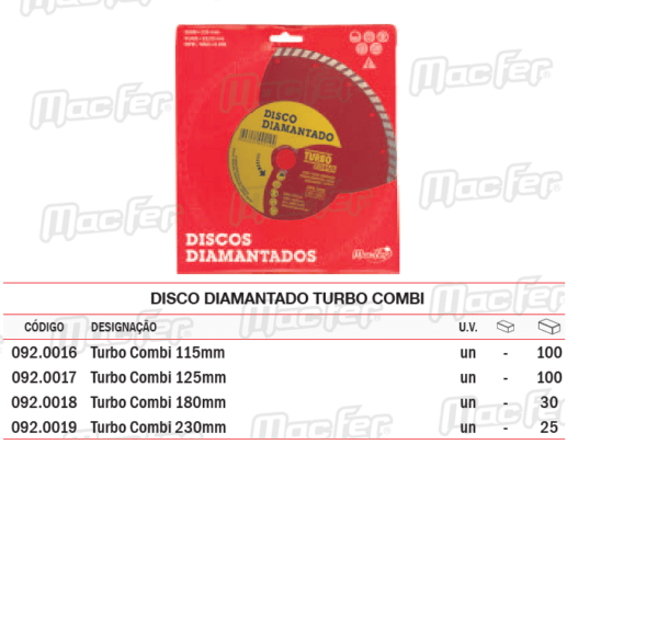 Disco diamantado turbo combi 115 mm