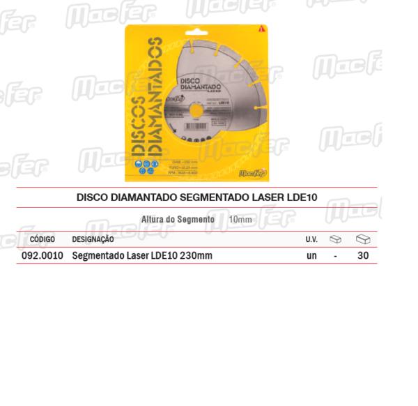Disco diamantado segmentado laser LDE 10 230 mm