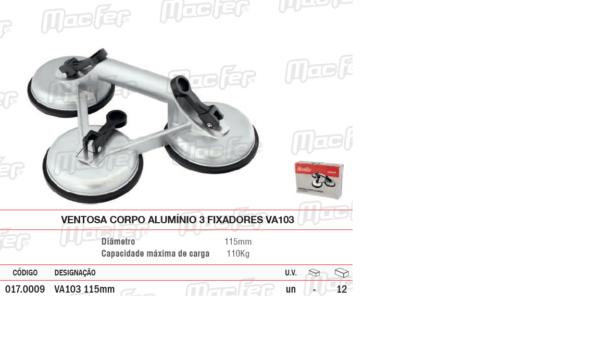 Ventosa Corpo Alumínio 3 Fixadores