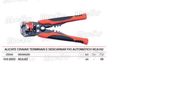 Alicate Cravar Terminais Descarnar Fio Automático NCA162