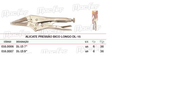 """Alicate de Pressão Bico Longo DL 15 9"""""""