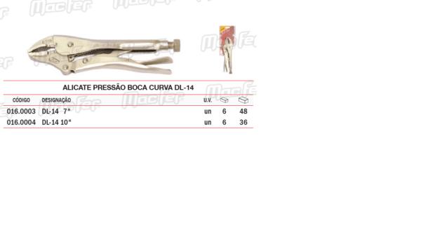 """Alicate de Pressão Boca Curva DL 14 7"""""""