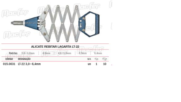 Alicate Rebitar Lagarta LT 22