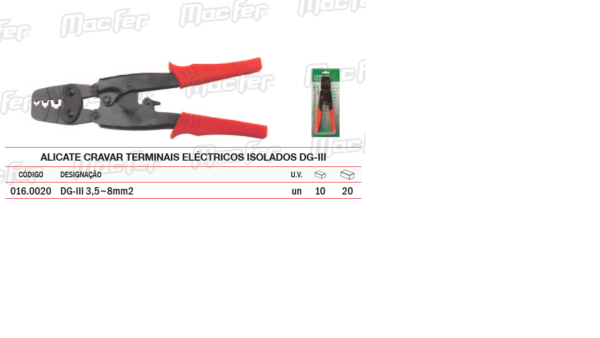 Alicate Cravar Terminais Electricos Isolados DG III