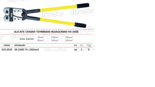 Alicate Cravar Terminais Hexagonais HX245B