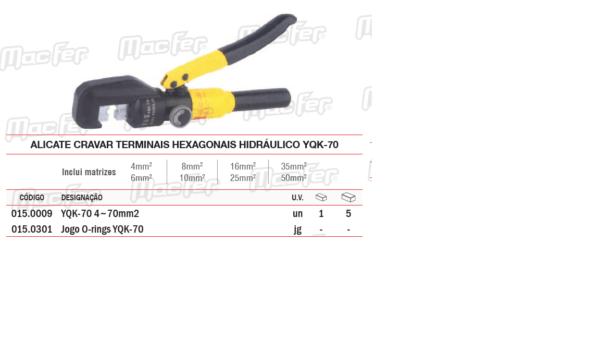 Alicate Cravar Terminais Hexagonais Hidráulico YQK70