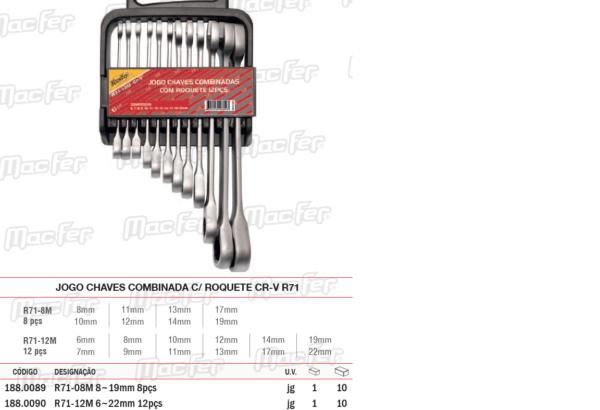 Jogo Chaves Combinada Com Roquete CRV71 8 Peças