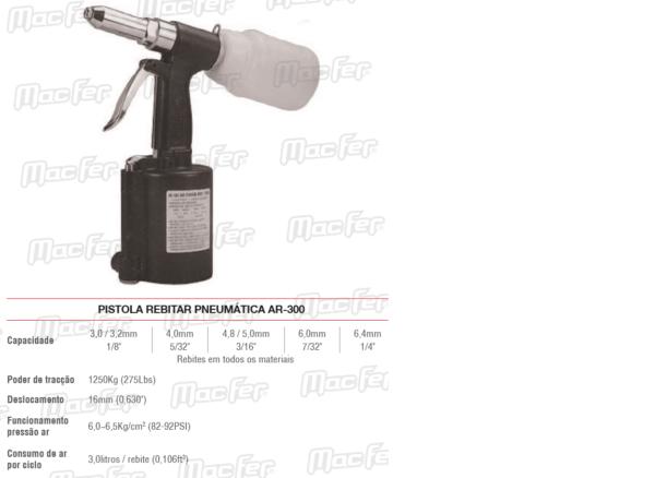 Pistola Rebitar Pneumática AR 300