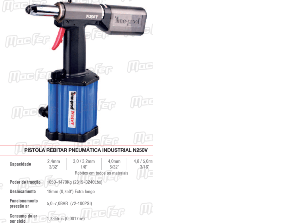 Pistola Rebitar Pneumática Industrial N250V