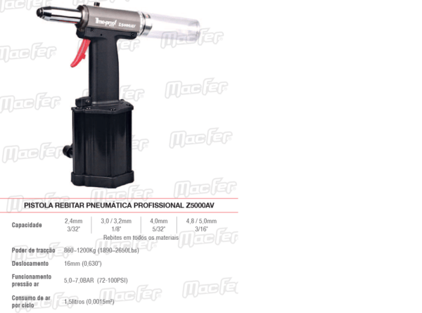 Pistola Rebitar Pneumática Profissional Z 5000AV