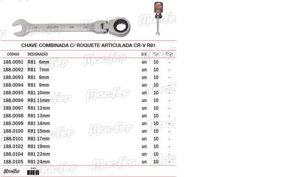 Chave Combinada Com Roquete Articulada CR V R81 10mm