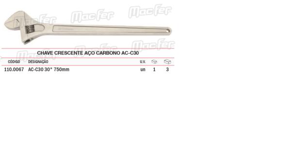 Chave Crescente Aço Carbono AC C 30