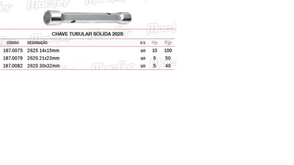 Chave Tubular Sólida 262 S 30 x 32 mm