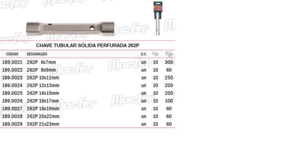Chave Tubular Sólida Perfurada 262P 20 x 22mm