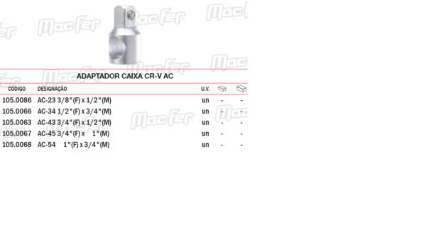 Adaptador Caixa CR VAC 3/4 F 1 M