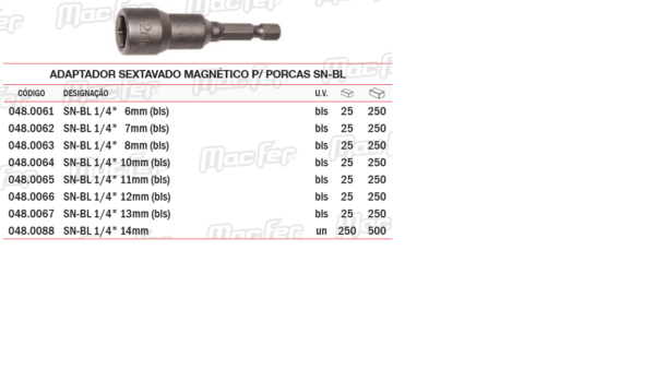 Adaptador Sextavado Magnético P/Porcas SNBL 10mm
