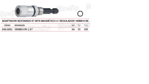Adaptador Sextavado Magnético P/Bit C/Regulador 160MH1CM