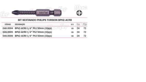 Bit Sextavado Philips Torsion BPH2 ACRII PH1x50mm