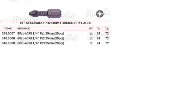 Bit Sextavado Pozidriv Torsion BPZ1 ACRII PZ2x25mm