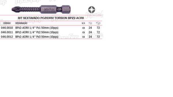 Bit Sextavado Pozidriv Torsion BPZ2 ACRII PZ3x50mm