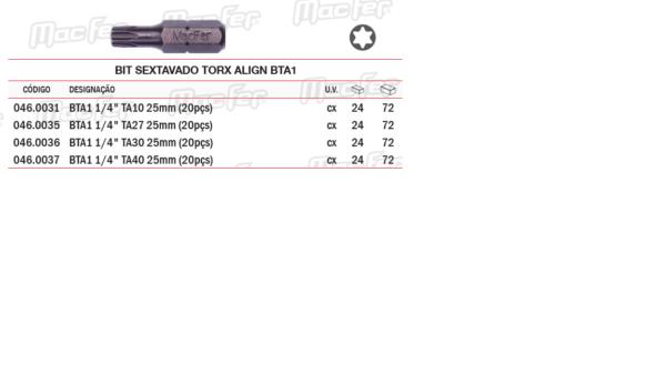 Bit Sextavado Torx ALIGN BTAI TA40x25mm