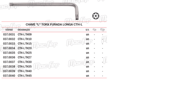Chave L Torx Furada Longa CTHL TH45