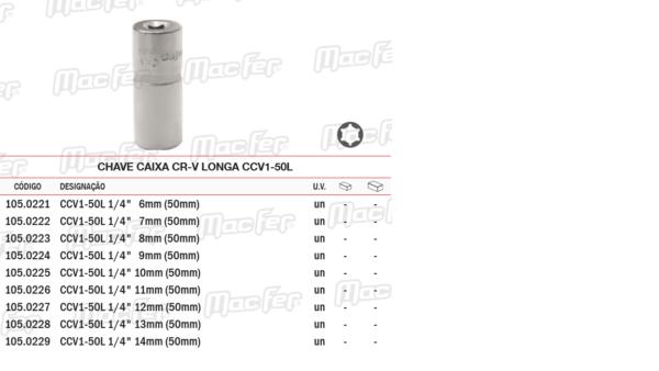 Chave Caixa CR V Longa CCVI50 7mm