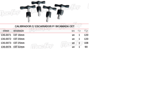 Calibrador Com Escariador Para Bicamada CET 32mm