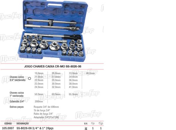 Jogo Chaves Caixa CR MO SS 8026 06