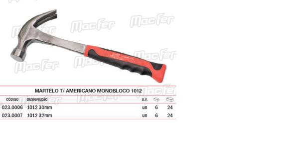 Martelo Tipo Americano Monobloco 1012 30mm