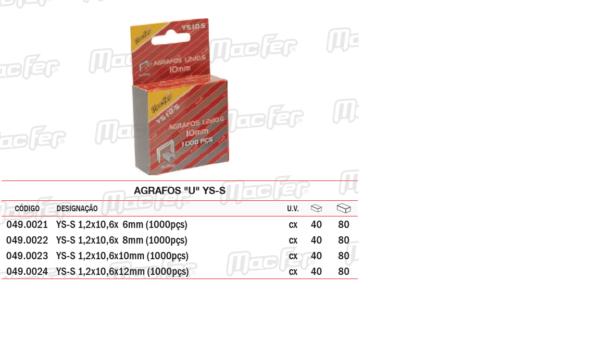 Agrafos U YSS 1,2 x 10,6 x 8mm