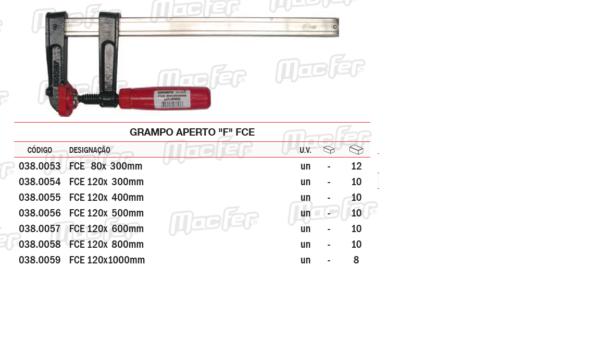"""Grampo Aperto """"F"""" FCE 120 x 300mm"""