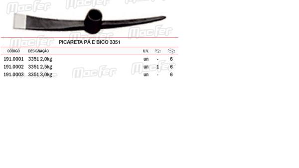 Picareta Pá e Bico 3351 2,5Kg