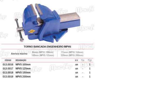 Torno Bancada Engenheiro MPV5 125mm