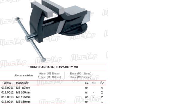 Torno Bancada Heavy Duty M3 100 100mm