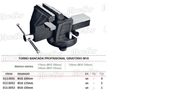 Torno Bancada Profissional Giratório M16 100mm