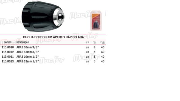 "Bucha Para Berbequim Aperto Rápido Profissional ARA 13mm 3/8"""