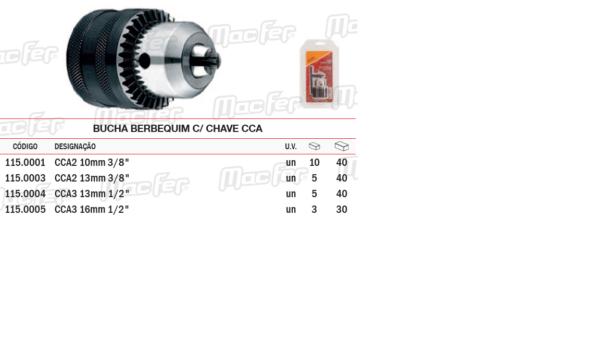 "Bucha Para Berbequim Com Chave CCA 16mm 1/2"""