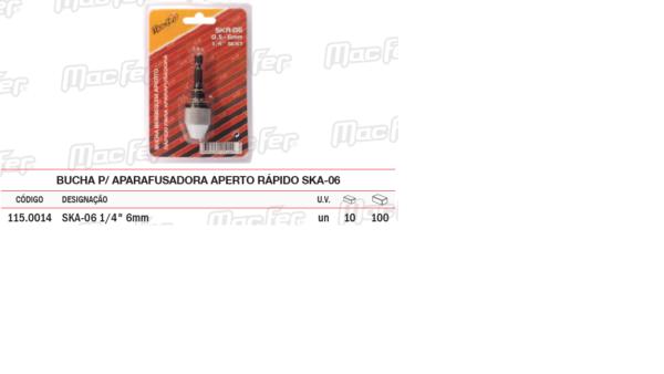 Bucha Para Aparafusadora Aperto Rápido SK A 06