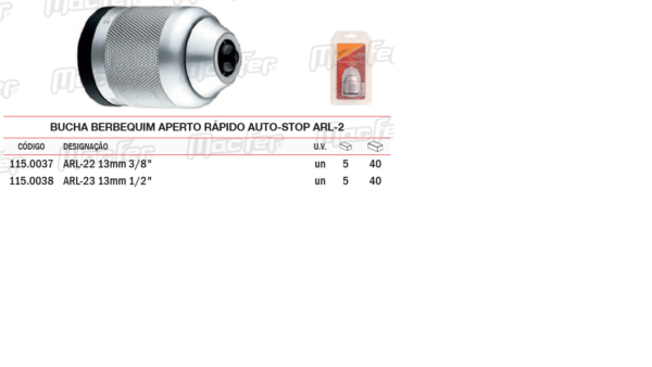Bucha Berbequim Aperto Rápido Auto Stop ARL 2 13mm 3/8