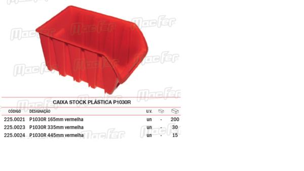 Caixa Stock Plástica P1030R A