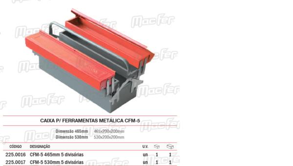 Caixa Para Ferramentas Metálica CFM5 465mm